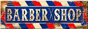 Barber Shop  weathered look chunky wooden sign   560mm x 177mm x 25mm  (pst)